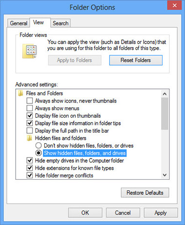 folder-option-settings كيفية إزالة Giant-search.com
